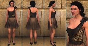 Mesh skirt leopard dress, black