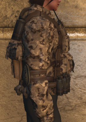 Military jacket with gear, desert camo (F, Side)